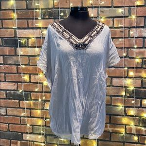 AGB Bedazzled Collar Light Blouse